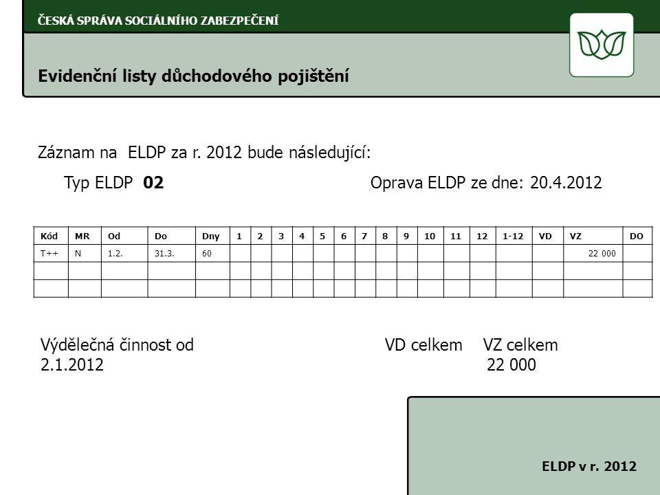 ČESKÁ SPRÁVA SOCIÁLNÍHO ZABEZPEČENÍ Evidenční listy důchodového pojištění ELDP v r. 2012 Záznam na ELDP za r. 2012 bude následující: Typ ELDP 02 Oprav