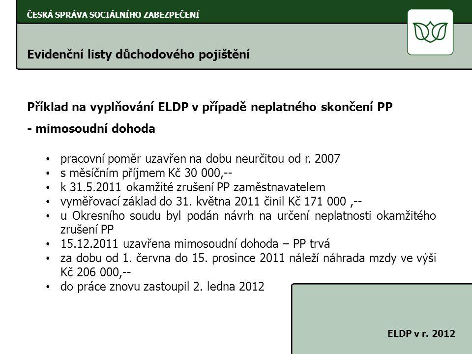 ČESKÁ SPRÁVA SOCIÁLNÍHO ZABEZPEČENÍ Evidenční listy důchodového pojištění ELDP v r. 2012 Příklad na vyplňování ELDP v případě neplatného skončení PP -