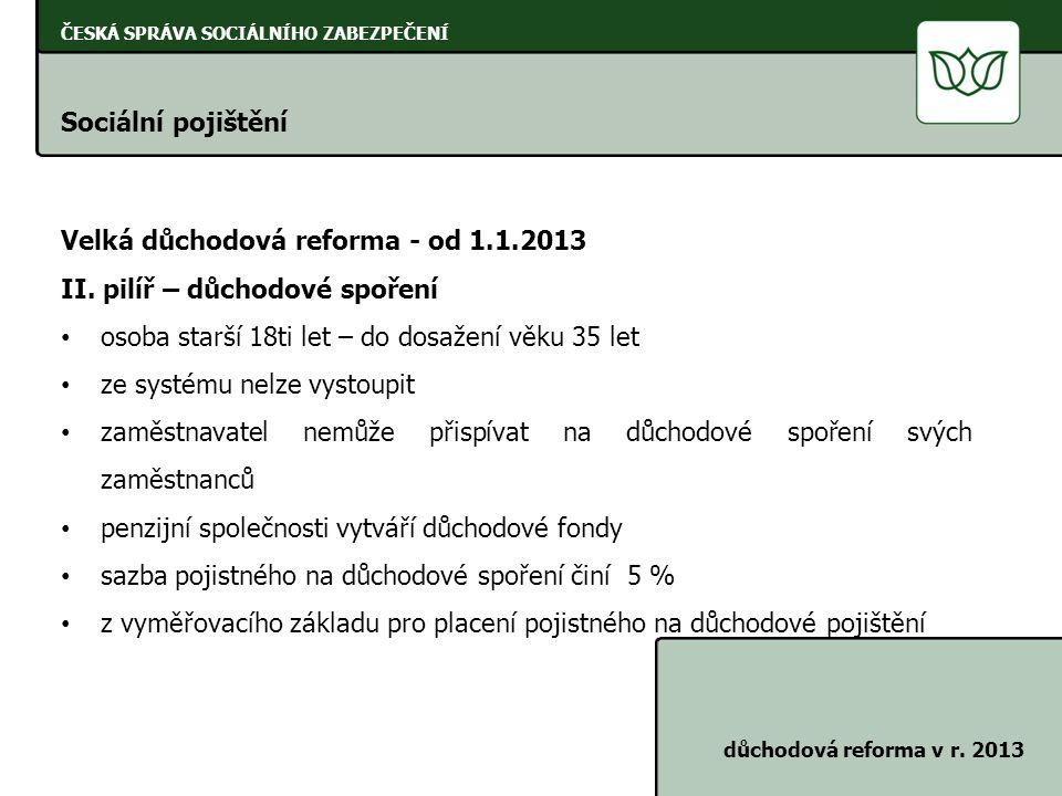 ČESKÁ SPRÁVA SOCIÁLNÍHO ZABEZPEČENÍ Sociální pojištění důchodová reforma v r. 2013 Velká důchodová reforma - od 1.1.2013 II. pilíř – důchodové spoření