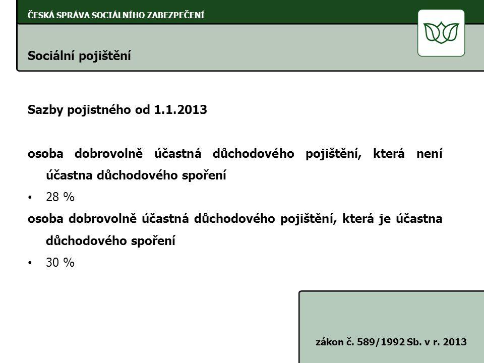 ČESKÁ SPRÁVA SOCIÁLNÍHO ZABEZPEČENÍ Sociální pojištění zákon č. 589/1992 Sb. v r. 2013 Sazby pojistného od 1.1.2013 osoba dobrovolně účastná důchodové