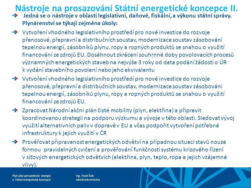 Ing. Pavel Šolc náměstek ministra Plyn jako perspektivní energie a Státní energetická koncepce Nástroje na prosazování Státní energetické koncepce II.