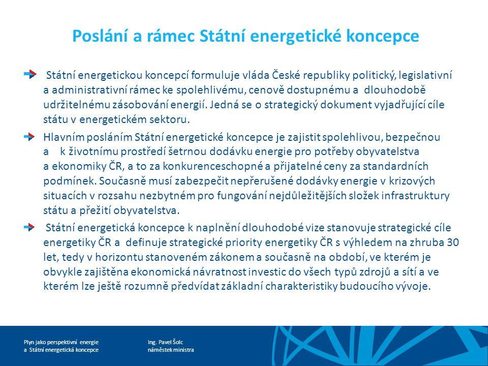 Ing. Pavel Šolc náměstek ministra Plyn jako perspektivní energie a Státní energetická koncepce Poslání a rámec Státní energetické koncepce Státní ener