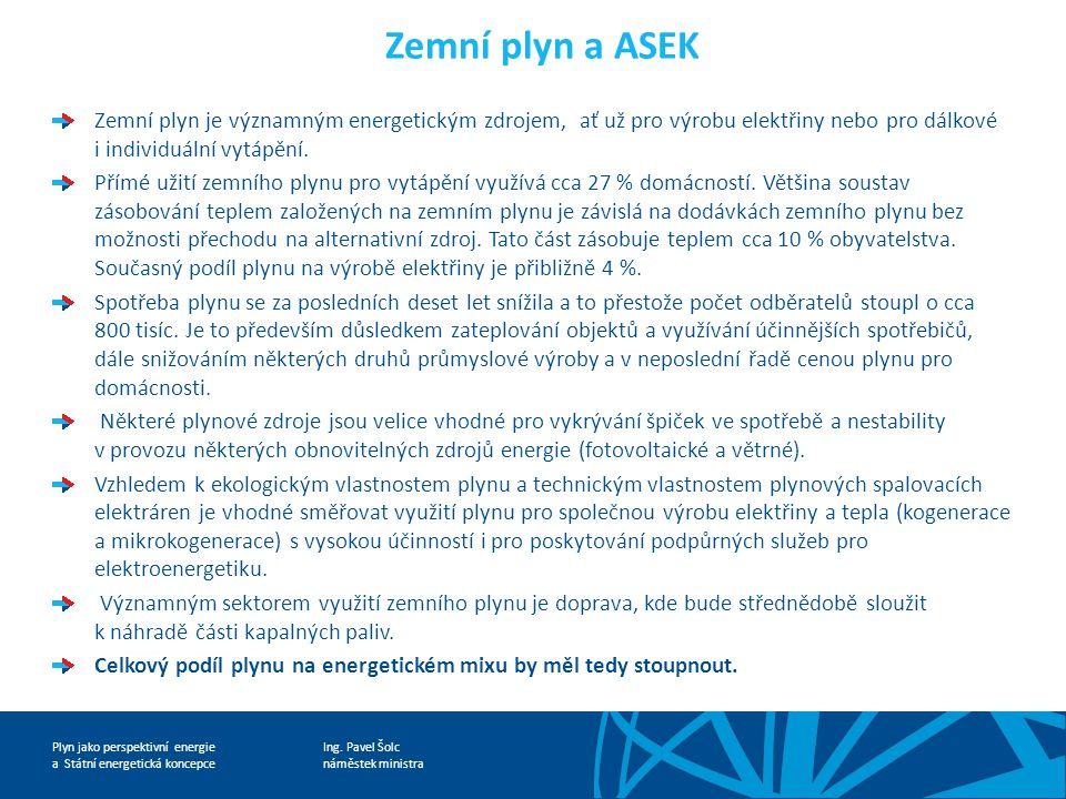 Ing. Pavel Šolc náměstek ministra Plyn jako perspektivní energie a Státní energetická koncepce Zemní plyn a ASEK Zemní plyn je významným energetickým