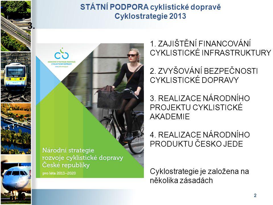 2 STÁTNÍ PODPORA cyklistické dopravě Cyklostrategie 2013 3. 1. ZAJIŠTĚNÍ FINANCOVÁNÍ CYKLISTICKÉ INFRASTRUKTURY 2. ZVYŠOVÁNÍ BEZPEČNOSTI CYKLISTICKÉ D
