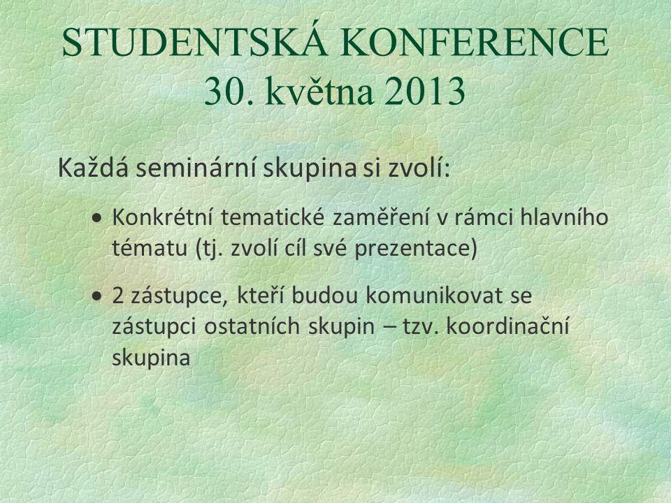 STUDENTSKÁ KONFERENCE 30. května 2013 Každá seminární skupina si zvolí:  Konkrétní tematické zaměření v rámci hlavního tématu (tj. zvolí cíl své prez