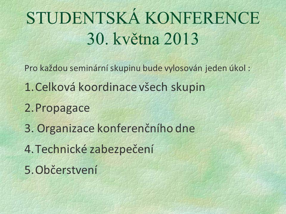 STUDENTSKÁ KONFERENCE 30. května 2013 Pro každou seminární skupinu bude vylosován jeden úkol : 1.Celková koordinace všech skupin 2.Propagace 3. Organi