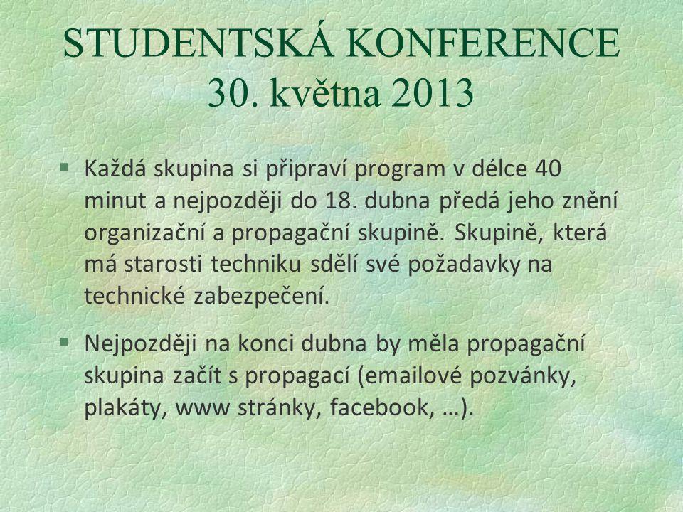 STUDENTSKÁ KONFERENCE 30. května 2013 §Každá skupina si připraví program v délce 40 minut a nejpozději do 18. dubna předá jeho znění organizační a pro
