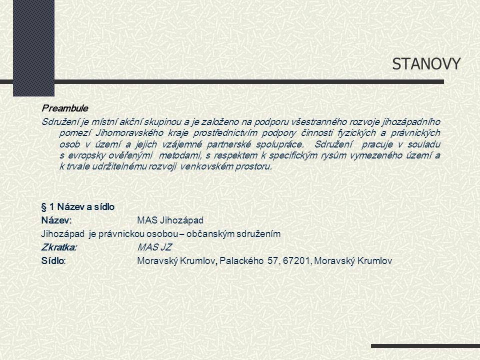 STANOVY Preambule Sdružení je místní akční skupinou a je založeno na podporu všestranného rozvoje jihozápadního pomezí Jihomoravského kraje prostředni