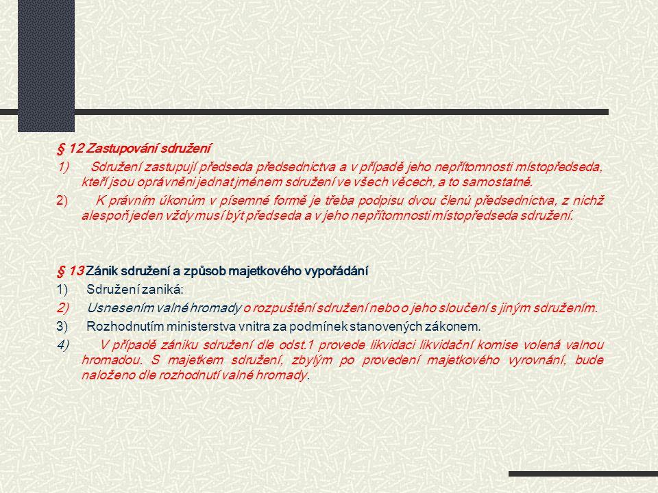§ 12 Zastupování sdružení 1) Sdružení zastupují předseda předsednictva a v případě jeho nepřítomnosti místopředseda, kteří jsou oprávněni jednat jméne