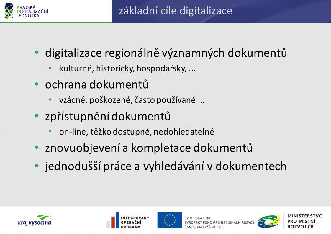 základní cíle digitalizace digitalizace regionálně významných dokumentů kulturně, historicky, hospodářsky,... ochrana dokumentů vzácné, poškozené, čas