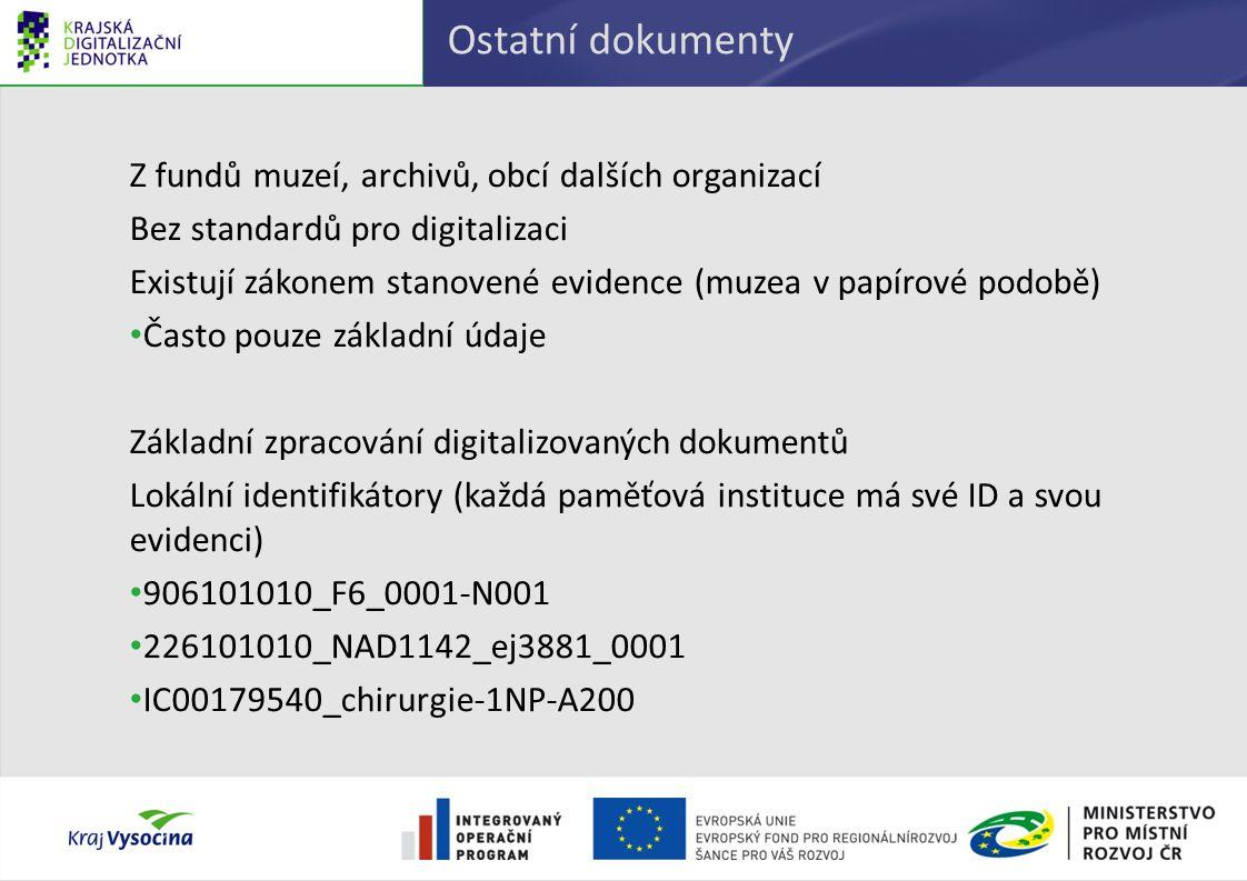 Ostatní dokumenty Z fundů muzeí, archivů, obcí dalších organizací Bez standardů pro digitalizaci Existují zákonem stanovené evidence (muzea v papírové