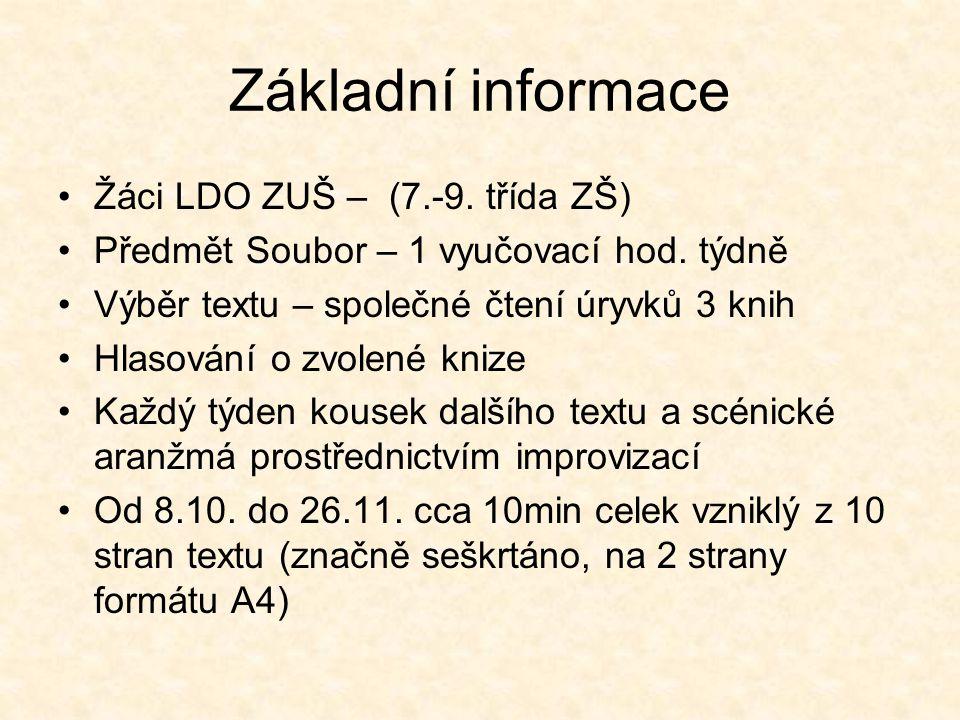 Základní informace Žáci LDO ZUŠ – (7.-9. třída ZŠ) Předmět Soubor – 1 vyučovací hod.