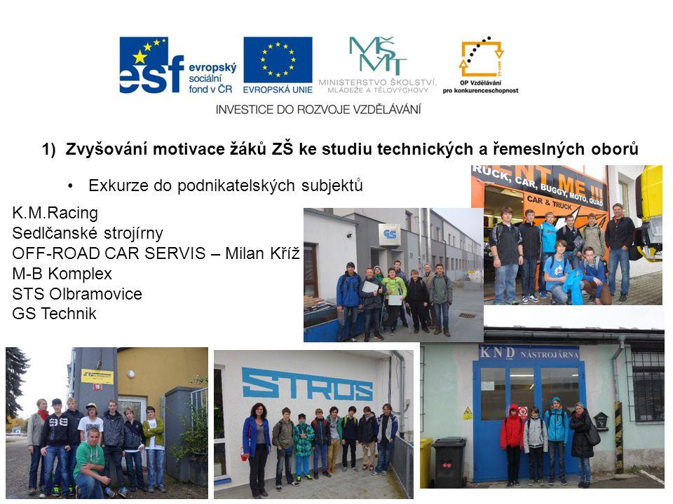 1) Zvyšování motivace žáků ZŠ ke studiu technických a řemeslných oborů Exkurze do podnikatelských subjektů K.M.Racing Sedlčanské strojírny OFF-ROAD CAR SERVIS – Milan Kříž M-B Komplex STS Olbramovice GS Technik
