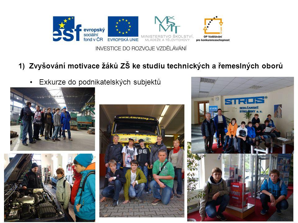 1) Zvyšování motivace žáků ZŠ ke studiu technických a řemeslných oborů Exkurze do podnikatelských subjektů