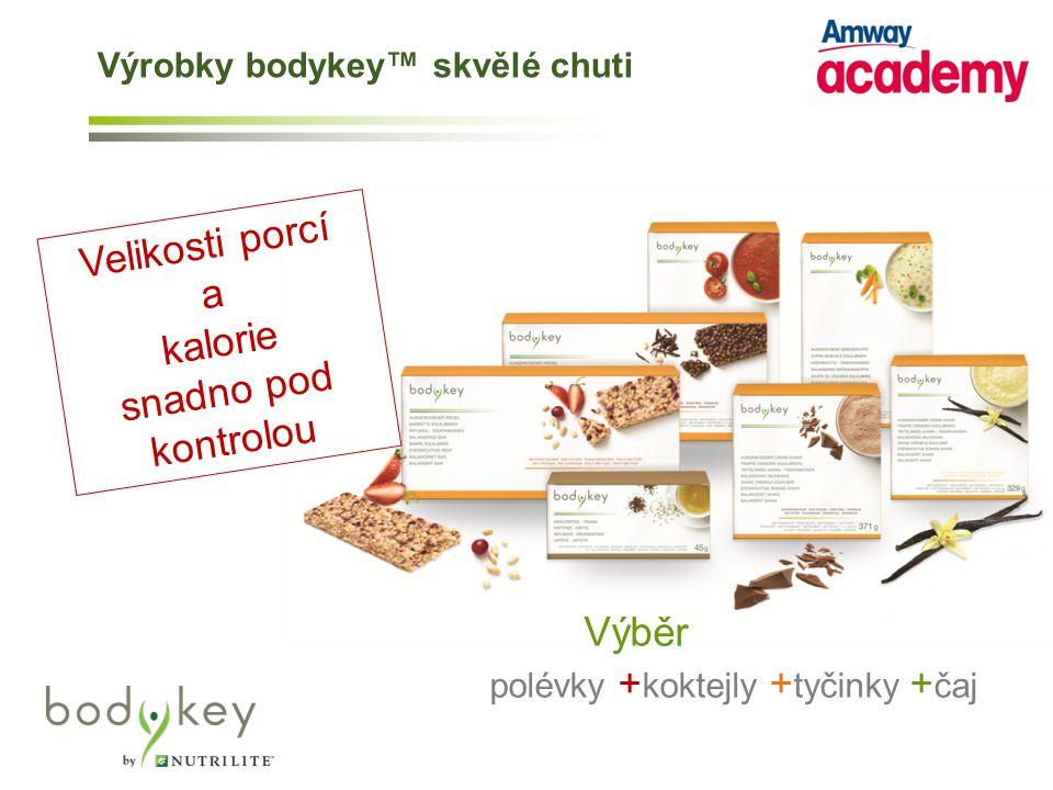 Velikosti porcí a kalorie snadno pod kontrolou polévky + koktejly + tyčinky + čaj Výběr Výrobky bodykey™ skvělé chuti