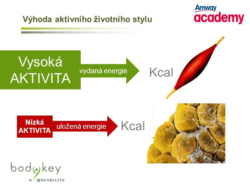 Kcal Vysoká AKTIVITA Nízká AKTIVITA vydaná energie Kcal uložená energie Výhoda aktivního životního stylu