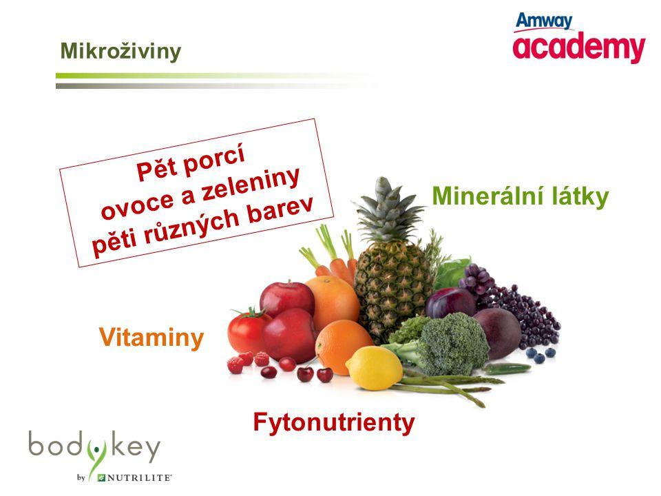 Minerální látky Vitaminy Fytonutrienty Pět porcí ovoce a zeleniny pěti různých barev Mikroživiny