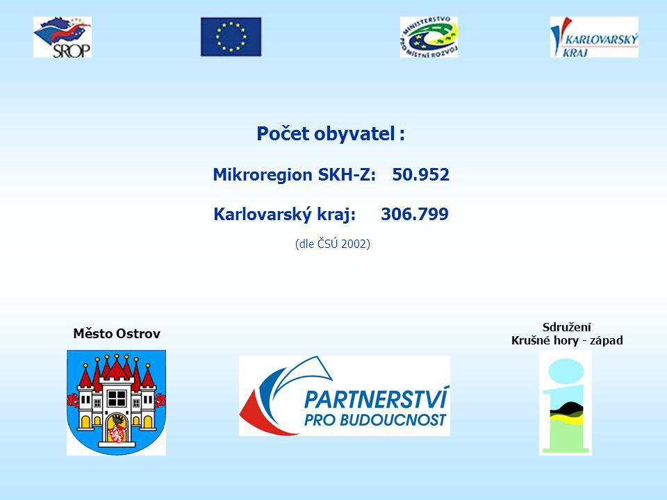 Počet obyvatel : Mikroregion SKH-Z: 50.952 Karlovarský kraj: 306.799 (dle ČSÚ 2002) Město Ostrov Sdružení Krušné hory - západ