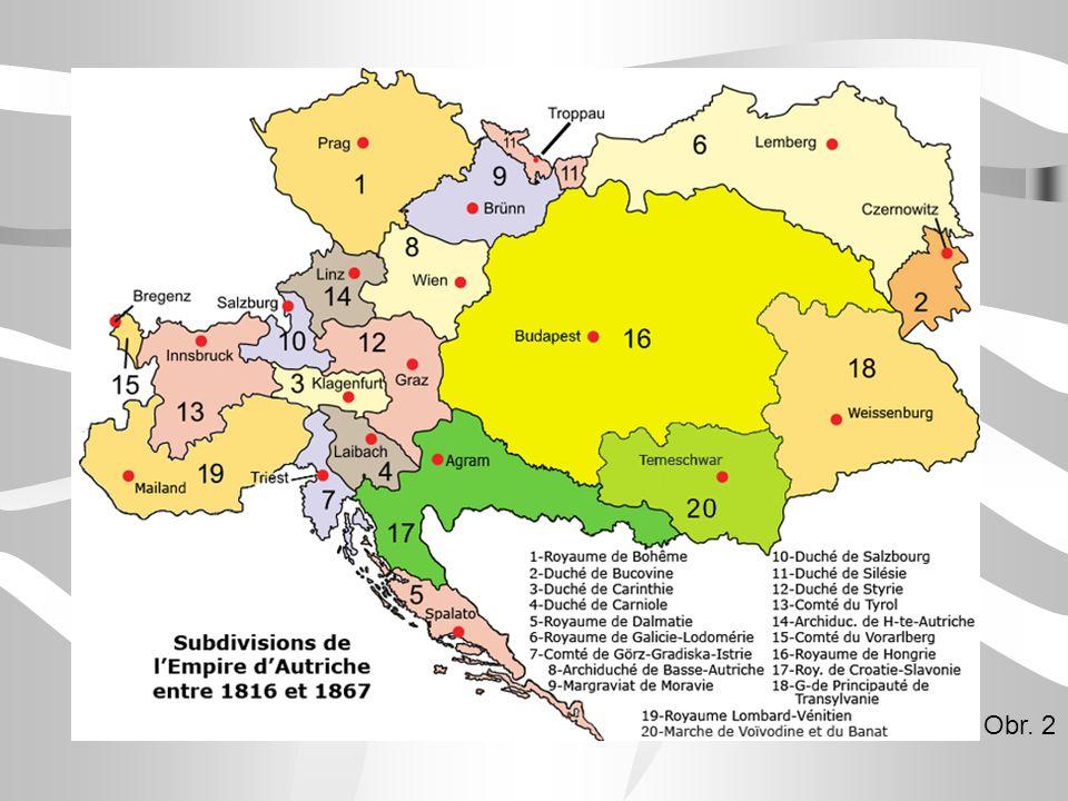 Revoluce v Habsburské monarchii Habsburská monarchie druhá největší říše v Evropě české, rakouské, italské, uherské země => řízeny z Vídně Rakousko, Rusko, Prusko = strážci evropského pořádku snaha o zrovnoprávnění uherské a české části (zmírnění centralismu, zrovnoprávnění jazyka)