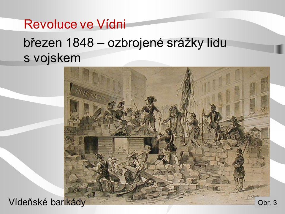 Revoluce ve Vídni březen 1848 – ozbrojené srážky lidu s vojskem Vídeňské barikády Obr. 3