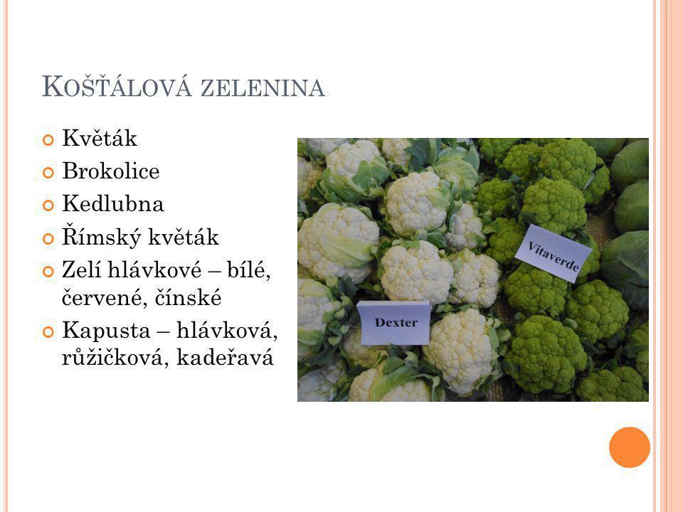 K OŠŤÁLOVÁ ZELENINA Květák Brokolice Kedlubna Římský květák Zelí hlávkové – bílé, červené, čínské Kapusta – hlávková, růžičková, kadeřavá