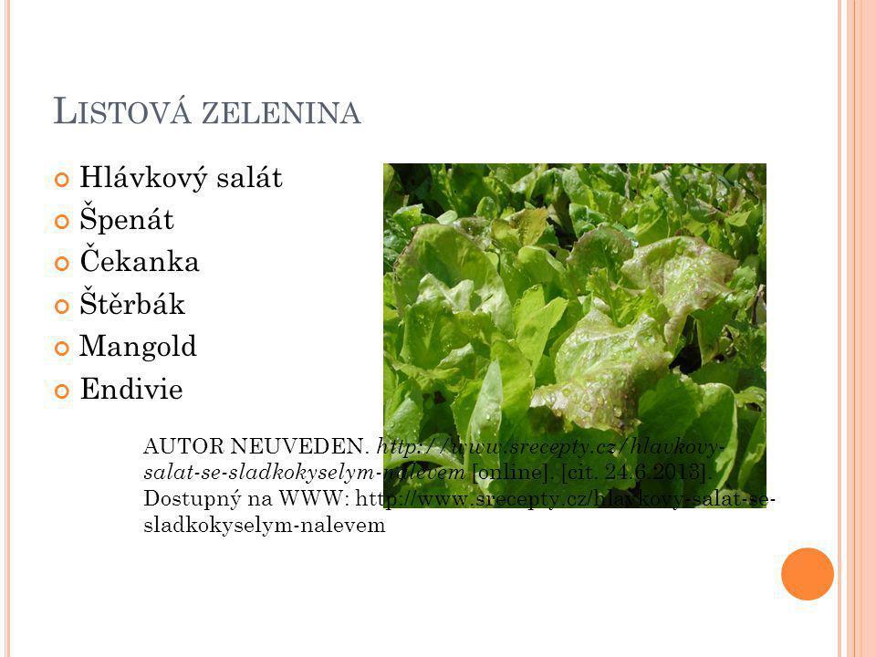 L ISTOVÁ ZELENINA Hlávkový salát Špenát Čekanka Štěrbák Mangold Endivie AUTOR NEUVEDEN.