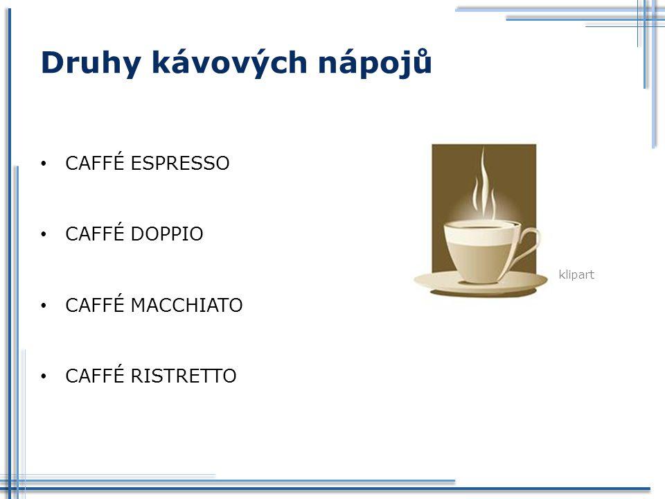 Druhy kávových nápojů CAFFÉ ESPRESSO CAFFÉ DOPPIO CAFFÉ MACCHIATO CAFFÉ RISTRETTO klipart