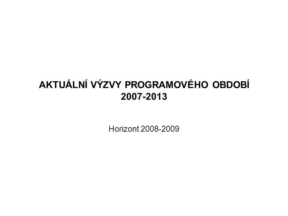 AKTUÁLNÍ VÝZVY PROGRAMOVÉHO OBDOBÍ 2007-2013 Horizont 2008-2009