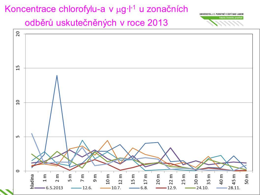 Koncentrace chlorofylu-a v  g·l -1 u zonačních odběrů uskutečněných v roce 2013