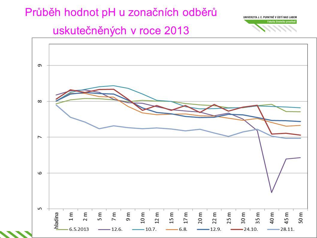 Průběh hodnot pH u zonačních odběrů uskutečněných v roce 2013