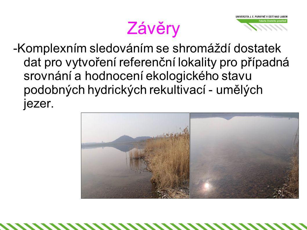 Závěry -Komplexním sledováním se shromáždí dostatek dat pro vytvoření referenční lokality pro případná srovnání a hodnocení ekologického stavu podobných hydrických rekultivací - umělých jezer.