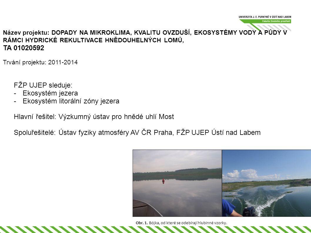 Název projektu: DOPADY NA MIKROKLIMA, KVALITU OVZDUŠÍ, EKOSYSTÉMY VODY A PŮDY V RÁMCI HYDRICKÉ REKULTIVACE HNĚDOUHELNÝCH LOMŮ, TA 01020592 Trvání projektu: 2011-2014 FŽP UJEP sleduje: -Ekosystém jezera -Ekosystém litorální zóny jezera Hlavní řešitel: Výzkumný ústav pro hnědé uhlí Most Spoluřešitelé: Ústav fyziky atmosféry AV ČR Praha, FŽP UJEP Ústí nad Labem Obr.