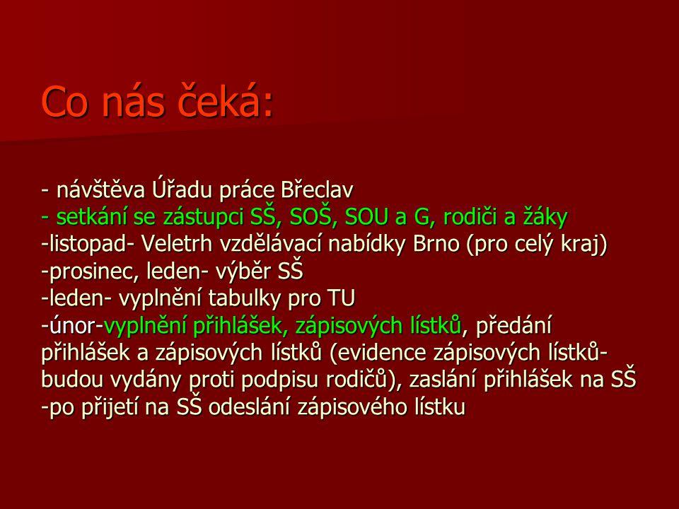 Co nás čeká: - návštěva Úřadu práce Břeclav - setkání se zástupci SŠ, SOŠ, SOU a G, rodiči a žáky -listopad- Veletrh vzdělávací nabídky Brno (pro celý