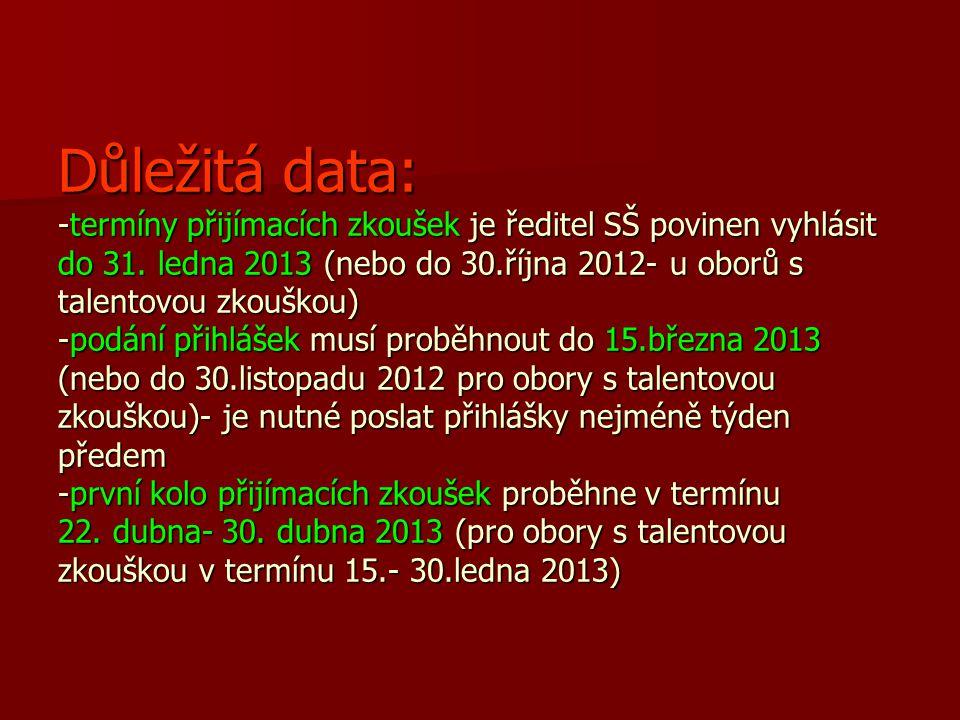 Důležitá data: -termíny přijímacích zkoušek je ředitel SŠ povinen vyhlásit do 31. ledna 2013 (nebo do 30.října 2012- u oborů s talentovou zkouškou) -p