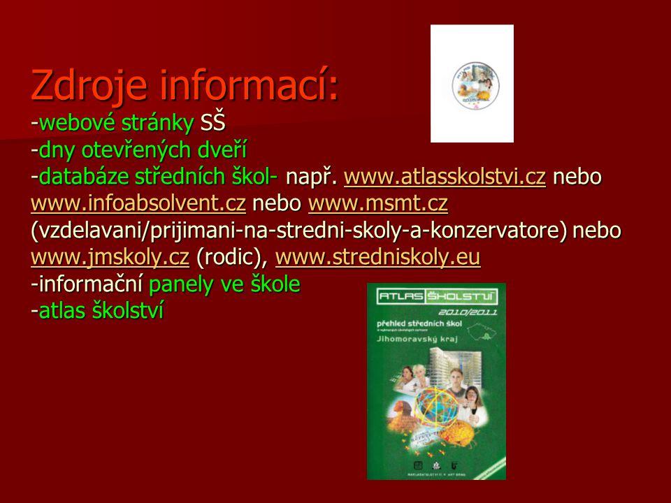 Zdroje informací: -webové stránky SŠ -dny otevřených dveří -databáze středních škol- např. www.atlasskolstvi.cz nebo www.infoabsolvent.cz nebo www.msm