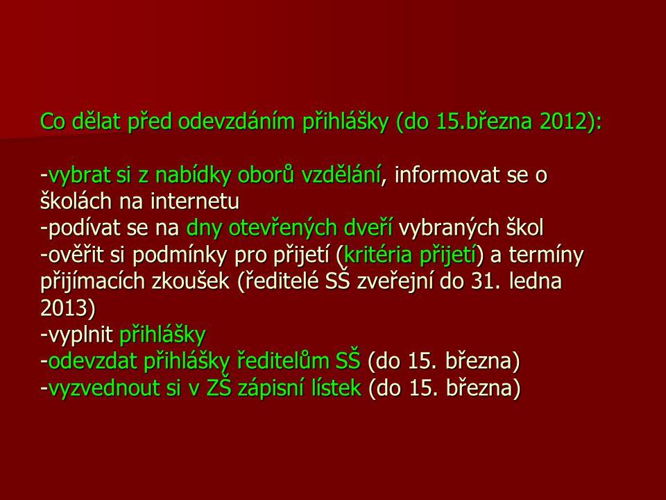 Co dělat před odevzdáním přihlášky (do 15.března 2012): -vybrat si z nabídky oborů vzdělání, informovat se o školách na internetu -podívat se na dny o