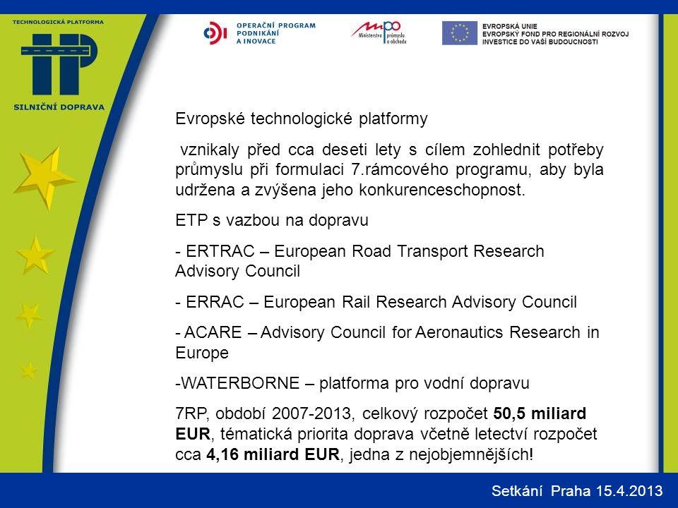 Evropské technologické platformy vznikaly před cca deseti lety s cílem zohlednit potřeby průmyslu při formulaci 7.rámcového programu, aby byla udržena a zvýšena jeho konkurenceschopnost.
