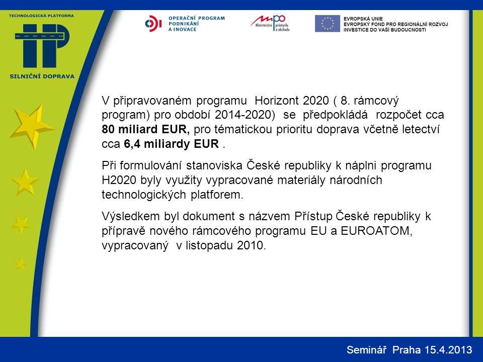 Seminář Praha 15.4.2013 V připravovaném programu Horizont 2020 ( 8.