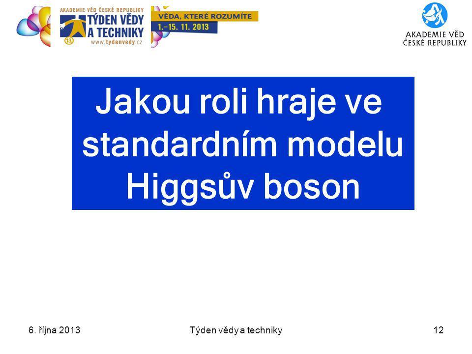 6. října 2013Týden vědy a techniky12 Jakou roli hraje ve standardním modelu Higgsův boson