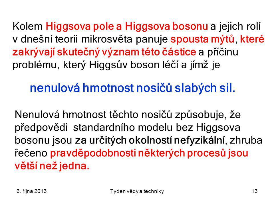 6. října 2013Týden vědy a techniky13 Kolem Higgsova pole a Higgsova bosonu a jejich rolí v dnešní teorii mikrosvěta panuje spousta mýtů, které zakrýva