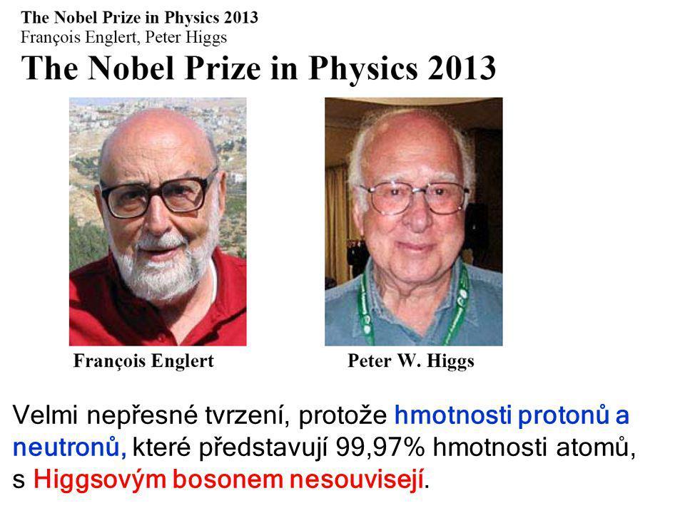 6. října 2013Týden vědy a techniky15 Velmi nepřesné tvrzení, protože hmotnosti protonů a neutronů, které představují 99,97% hmotnosti atomů, s Higgsov
