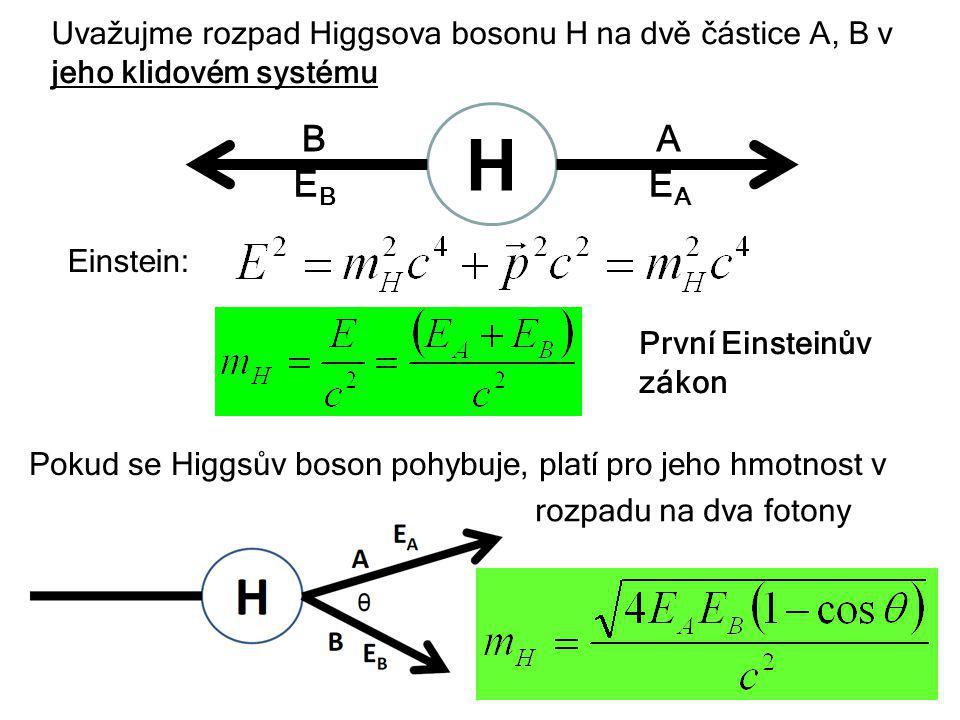 6. října 2013Týden vědy a techniky29 Uvažujme rozpad Higgsova bosonu H na dvě částice A, B v jeho klidovém systému H AB EAEA EBEB Einstein: Pokud se H