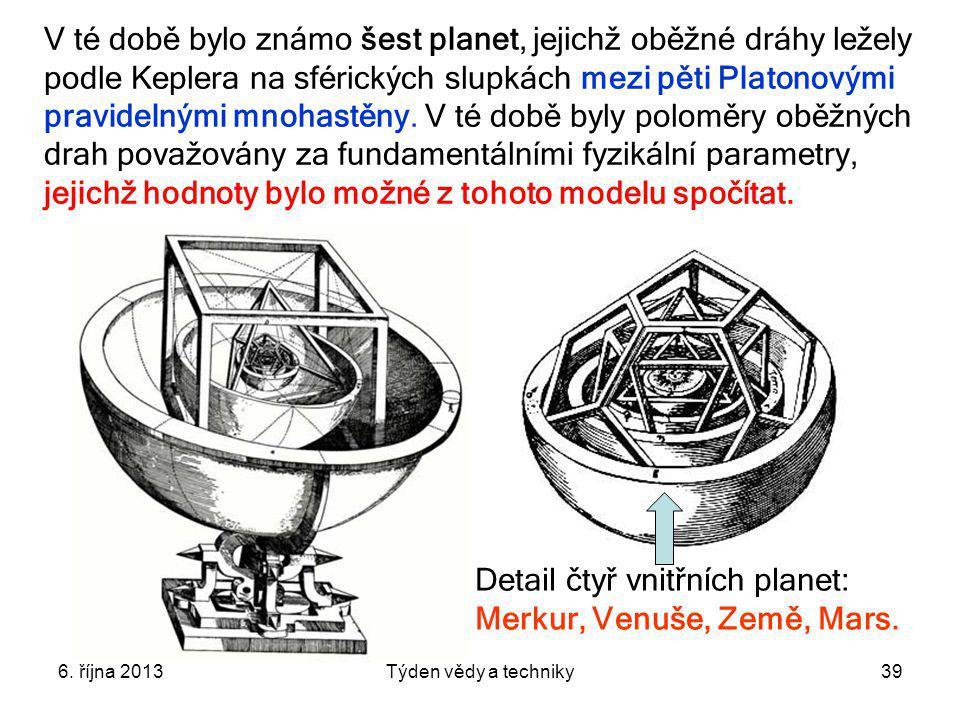 6. října 2013Týden vědy a techniky39 V té době bylo známo šest planet, jejichž oběžné dráhy ležely podle Keplera na sférických slupkách mezi pěti Plat