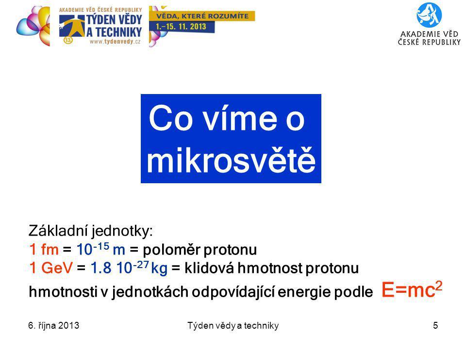 6. října 2013Týden vědy a techniky5 Co víme o mikrosvětě Základní jednotky: 1 fm = 10 -15 m = poloměr protonu 1 GeV = 1.8 10 -27 kg = klidová hmotnost
