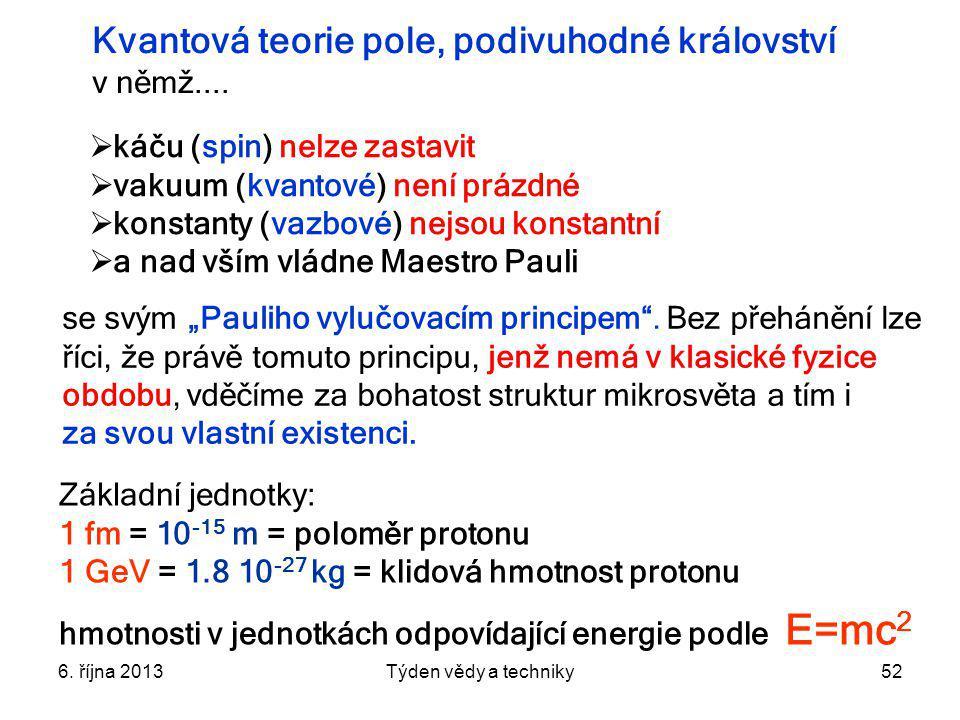 6. října 2013Týden vědy a techniky52  káču (spin) nelze zastavit  vakuum (kvantové) není prázdné  konstanty (vazbové) nejsou konstantní  a nad vší