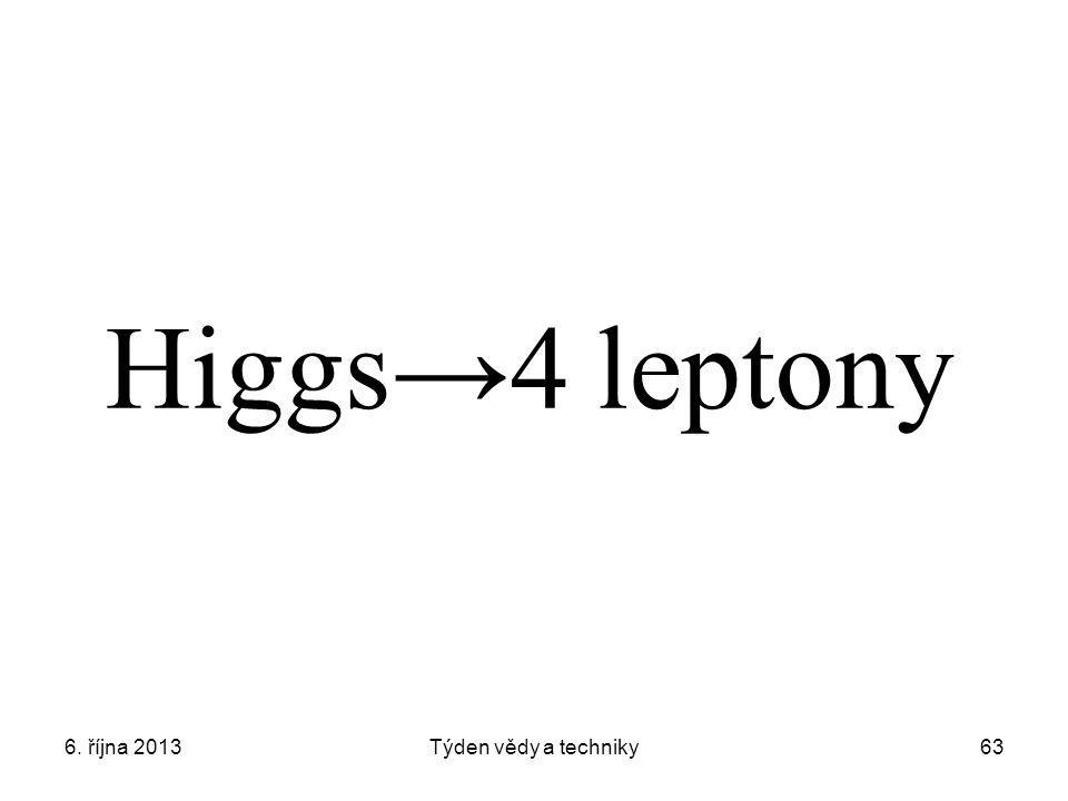 6. října 2013Týden vědy a techniky63 Higgs→4 leptony