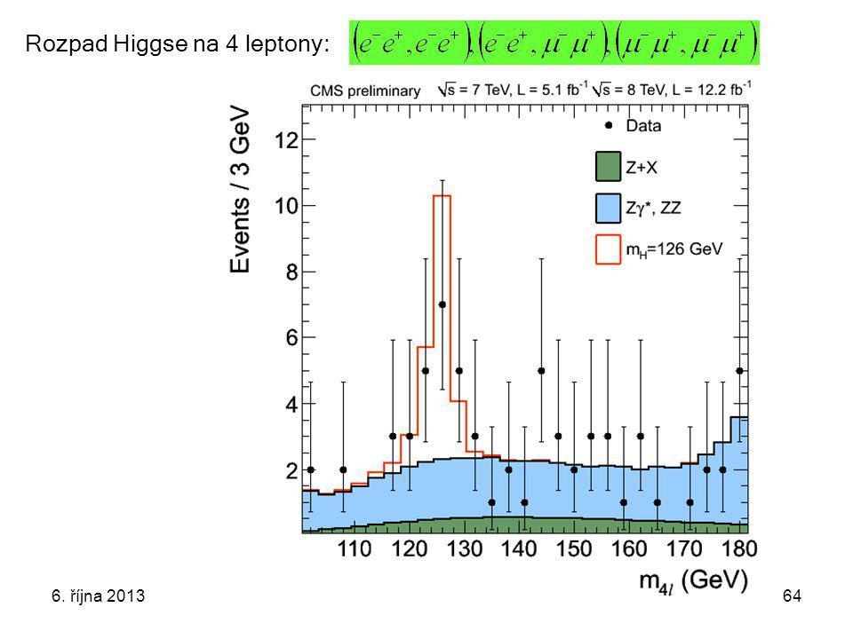 6. října 2013Týden vědy a techniky64 Rozpad Higgse na 4 leptony: