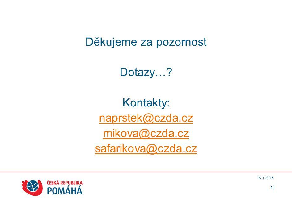 12 15.1.2015 Děkujeme za pozornost Dotazy…? Kontakty: naprstek@czda.cz mikova@czda.cz safarikova@czda.cz