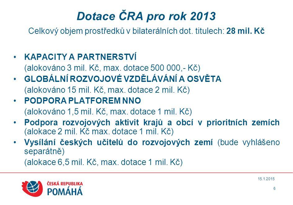6 15.1.2015 Dotace ČRA pro rok 2013 Celkový objem prostředků v bilaterálních dot.
