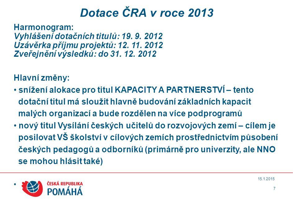 7 15.1.2015 Dotace ČRA v roce 2013 Harmonogram: Vyhlášení dotačních titulů: 19.